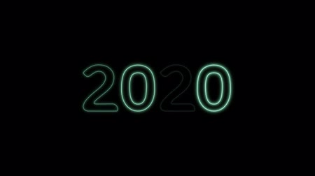 Happy New Year 2020 text design with green light blinking on black background, new year concept design
