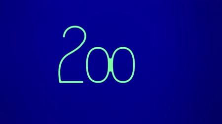 bölmek : Animation of Happy New Year 2020 colorful signboard design with outline green text on blue background Stok Video