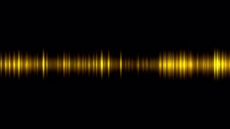 Animation of sound waves oscillating glowing gold light on black background Stok Video