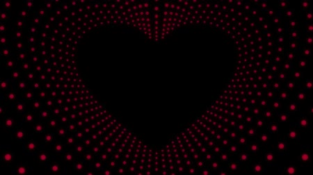 surroundings : Animation of red neon heart tunnel with dot light magic surrounding. Design elements for Valentines day.