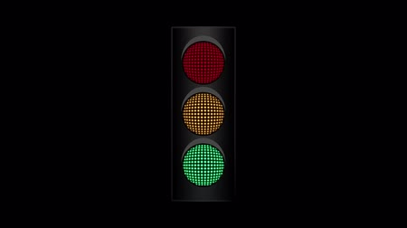 caution sign : Animation of traffic light blinking isolated on black background