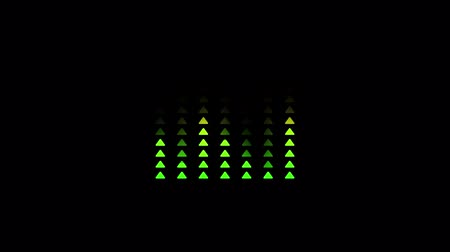 Animation of sound equalizer with bar graph triangle shape of audio wave with color changing from green to red on black background