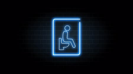 mocz : Neon blue light glowing blinking of toilet sign. Man sitting with water closet symbol on black background
