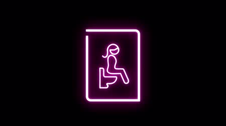 guarda roupa : Neon pink light glowing blinking of toilet sign. Woman sitting with water closet symbol on black background