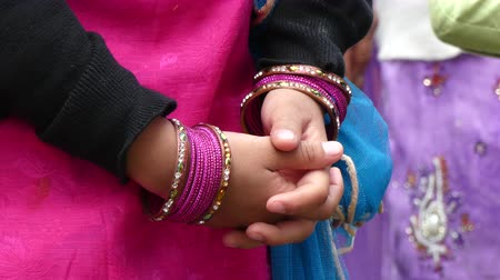 feminity : Indian girl hands jewelry background Stock Footage