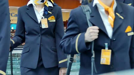 aeroespaço : Flight crew in uniform slow motion