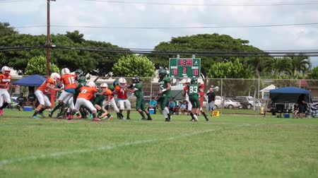 pozisyon : Wide shot young football players green field Hawaii