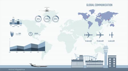 オプション : Airline infographics. Graphs and diagram of transportation business.  Global map with aircrafts. Aviation movie with planes and information