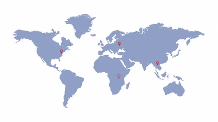 alfa : World map with geolocation markers. Global communication. Delivery and logistics. Stock Footage