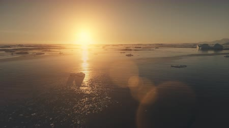 Sunset Antarctica epic aerial view drone flight. 4k Timelapse shot over the ocean water and glacier ice. Orange sun light given bright beams. Wideo