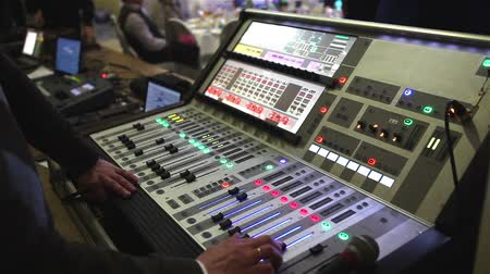 kalça : DJ Mixer button close-up, DJs work on the evening, wedding party Stok Video