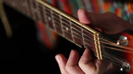 traditional instruments : Mexican plays guitar Close-up plan, Playing guitar Stock Footage