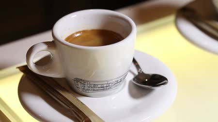 kakao : Hot coffee cup, A cup of fragrant espresso, close-up Wideo