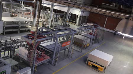 ceramika : Modern factory interior, Electrical Automated Guided Vehicles Platform, time laps