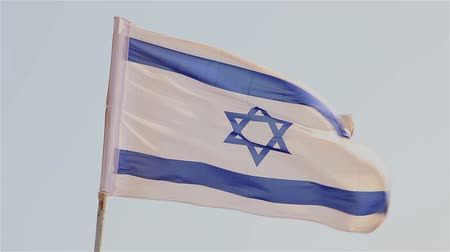 wailing wall : An Israeli flag waving in the breeze filmed in Israel. Stock Footage