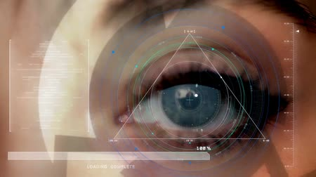 macula : Human eye being scanned by a scanner interface, extreme macro shot, gray eye pupil eye female, close-up Stock Footage
