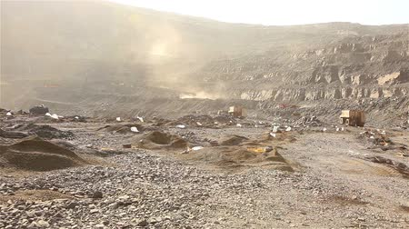 minério : Platform with holes for blast, Blast in open cast mine, panorama of work in the iron ore quarry