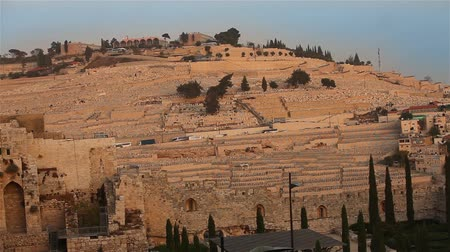 gravestone : the Mount of Olives overlooking the cemetery towards the Dome of the Rock at sunset. Stock Footage