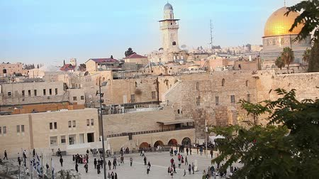 żyd : Jerusalem, Western Wall and Dome of the Rock, Israel flag, general plan, Timelapse Wideo
