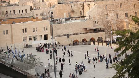 mesquita : Jerusalem, Western Wall and Dome of the Rock, Israel flag, general plan, Timelapse Vídeos