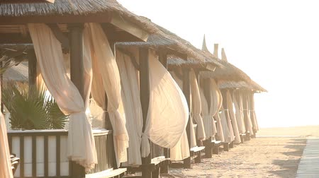 tyrkysový : Sandy Beach With Thatched Umbrellas On A Windy Day, Beach umbrellas by the ocean Dostupné videozáznamy