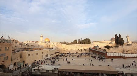 filistin : Jerusalem, Western Wall and Dome of the Rock, Israel flag, general plan