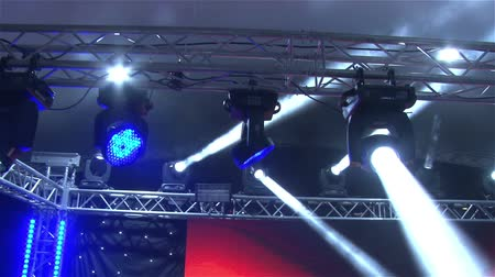 tiyatro : Stage lights at the concert with fog, Stage lights on a console, Lighting the concert stage, entertainment concert lighting on stage