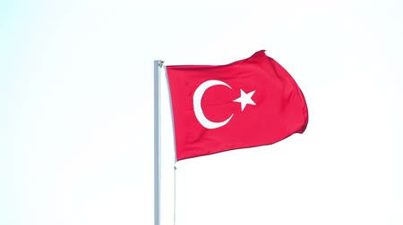 isztambul : Turkish flag waving in blue sky, Flag of Turkey in the wind Stock mozgókép