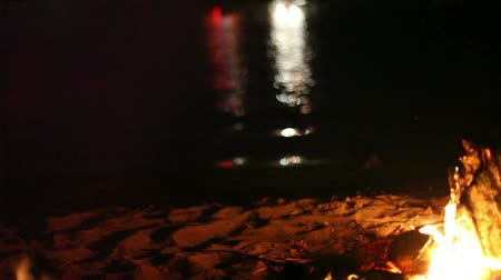voluntário : Classic campfire burning brightly with snapping flames by riverside at night