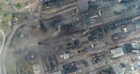 młyn : Industrial area top view, View of the industrial object, Courtyard of a factory, Aerial view, Smoke and fire, environmental pollution, environmental pollution, ecological disaster, panoramic view, 4K Wideo