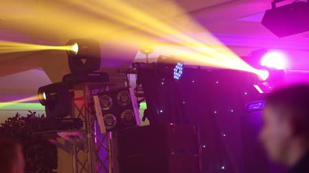 tiyatro : Stage lights at the concert with fog, Stage lights on a console, Lighting the concert stage, entertainment concert lighting on stage, new year party, christmas, new year holidays Stok Video