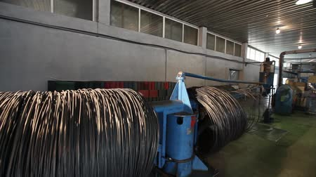 colchão : furniture factory, production of furniture springs for mattress blocks, machine for the production of springs, production workshop, the production line, assembly box springs, mattress blocks Stock Footage