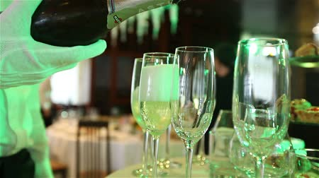 előételek : glasses with champagne and fruits on buffet table, buffet table at a restaurant or in the hotel lobby, the camera along, shallow depth of field, welcoming guests in the lobby of the restaurant