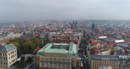 Beautiful panoramic aerial view of the Prague city cathedral from above with the old town and Vltava river. Amazing city landscape footage. Wideo