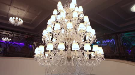 Vintage chandelier in the restaurant, interior Wideo