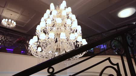 A hotel chandelier