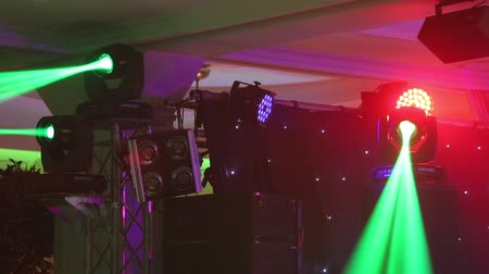 Stage lights at the concert with fog, Stage lights on a console, Lighting the concert stage, entertainment concert lighting on stage, new year party, christmas, new year holidays Wideo