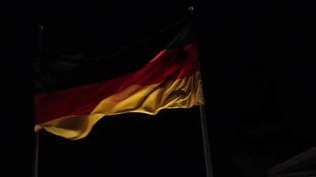bundestag : The flag of Germany develops against the background of the night sky, the national flag of Germany over the Reichtag dome, against the background of the night sky, the view from below