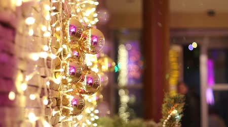 ladin : Exterior of the restaurant at Christmas, the Christmas decoration Stok Video