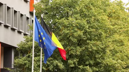 siyasi : The european flag and the national german flag of germany with trees and building in the background, dutch and european flags