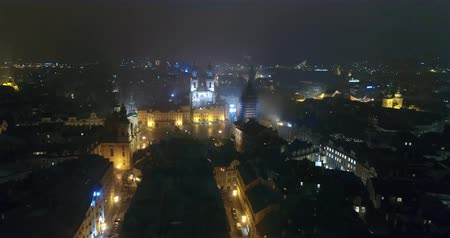 hradcany : Night panorama of Prague, Panoramic view from the air to St. Vitus Cathedral in Prague, lights of the night city, Prague Stock Footage
