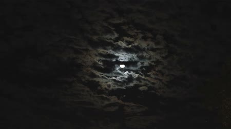 night : Full moon in the night sky, bright moon, night sky, the motion of clouds in the night sky against the background of a bright moon Stock Footage