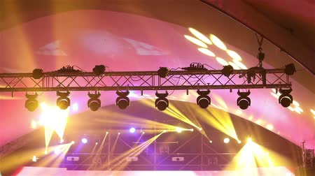pop art background : Stage lights at the concert with fog, Stage lights on a console, Lighting the concert stage, entertainment concert lighting on stage