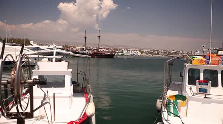 pirata : Fishing boats near the pier, Parking of fishing ships, Pleasure boats and fishing boats in harbor Stock Footage