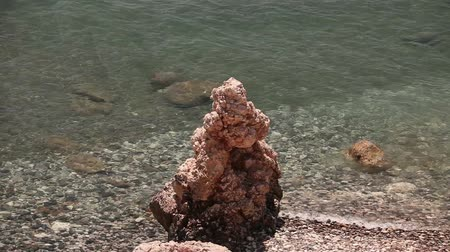 pyramida : the pool of Aphrodite, rocky beach high cliffs blue sky and sea, Sea coast with rocks, nobody Dostupné videozáznamy