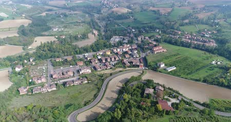 piemonte : Aerial overhead view of the vineyards of Italy, small medieval town of Italy, Panoramic view from above of the vineyards of Italy