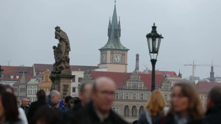 bulanık : time-lapse people on the Charles Bridge in Prague against the backdrop of the clock tower, Prague, 2017