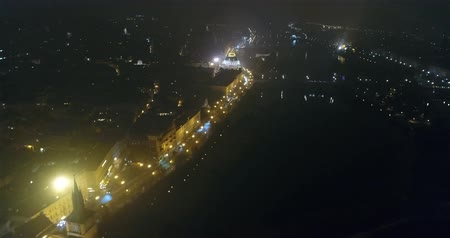 hradcany : Night panorama of Prague, panoramic view from the air to the old town, lights of the night city, Prague Stock Footage