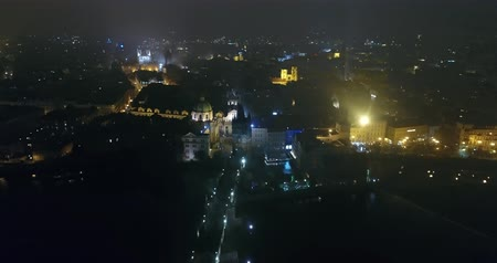 hradcany : Night panorama of Prague, panoramic view from the air to the old town and Charles Bridge, lights of the night city