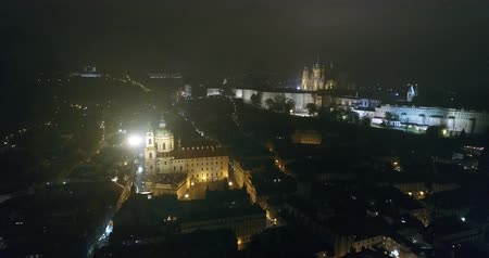 čeština : Night panorama of Prague, panoramic view from the air to the Old Town Square, lights of the night city, Prague